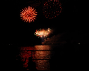 Fireworks as viewed from Palmer Park in St. Clair.  Photo by Grace Grogan  Copyright 2014